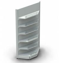 Стеллаж торговый металлический пристенный угол внутренний 712*712*2350 мм