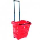 Корзина-тележка покупательская на 2 колесах пластиковая