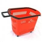 Корзина-тележка покупательская на 4 колесах пластиковая