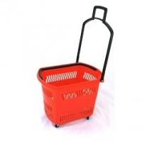 Корзина-тележка покупательская на 4 колесах пластиковая малая