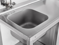 Стол предмоечный СПМП-6-5 (1500x671 мм) душ-стойка, сбор отходов, мойка цельнотянутая 400х400х250