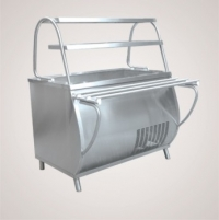 Прилавок холодильный ПВВ(Н)-70М-НШ (открытый, полка, подсветка охлаждаемая ванна h-85мм., 1120 мм.)