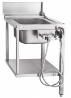 Стол предмоечный СПМП-6-1 (560x671 мм) душ-стойка, мойка цельнотянутая 400х400х250