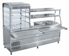 Прилавок-витрина холодильный мармитный универсальный ПВХМ-70КМУ нерж. (2275 мм.)