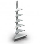 Стеллаж торговый металлический пристенный угол внутренний 580*580*2350 мм